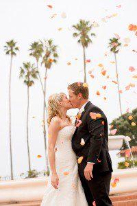 bride groom santa barbara palm trees