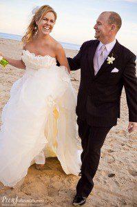 santa barbara wedding bride groom beach sunset