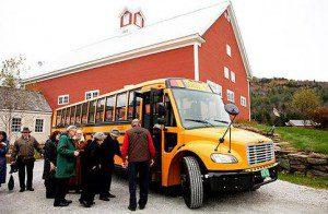 shuttle wedding guests school bus