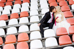 wedding ticket registry event tickets seats bride groom kissing