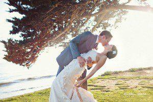 bride groom beach santa barbara dip romantic