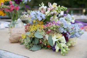 bouquet burlap wrap santa barbara rustic wildflowers