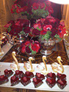 santa barbara style catering wedding design red