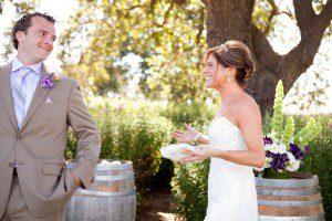 first look bride groom wedding santa ynez gainey vineyard