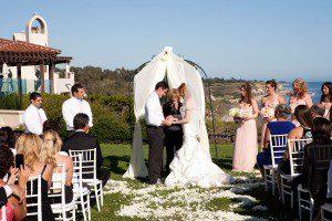jewish ceremony wedding bacara chuppah bride groom santa barbara white cloth