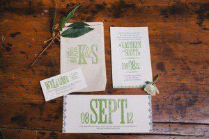bride groom wedding invitation wording green lettering
