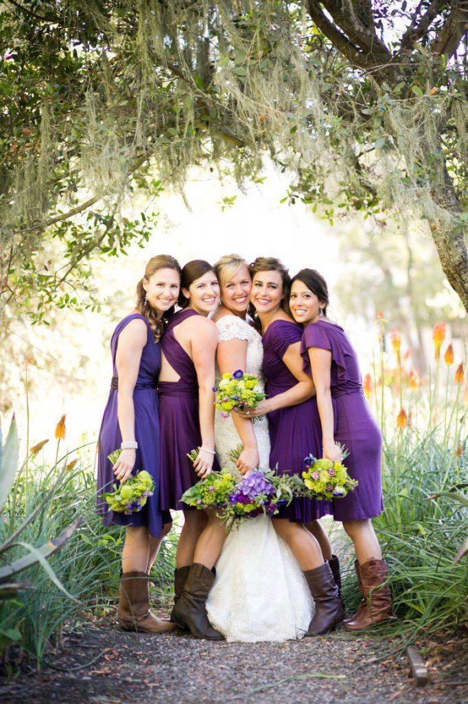 bridesmaids mismatched dresses purple ranch santa barbara wedding boots cowgirl