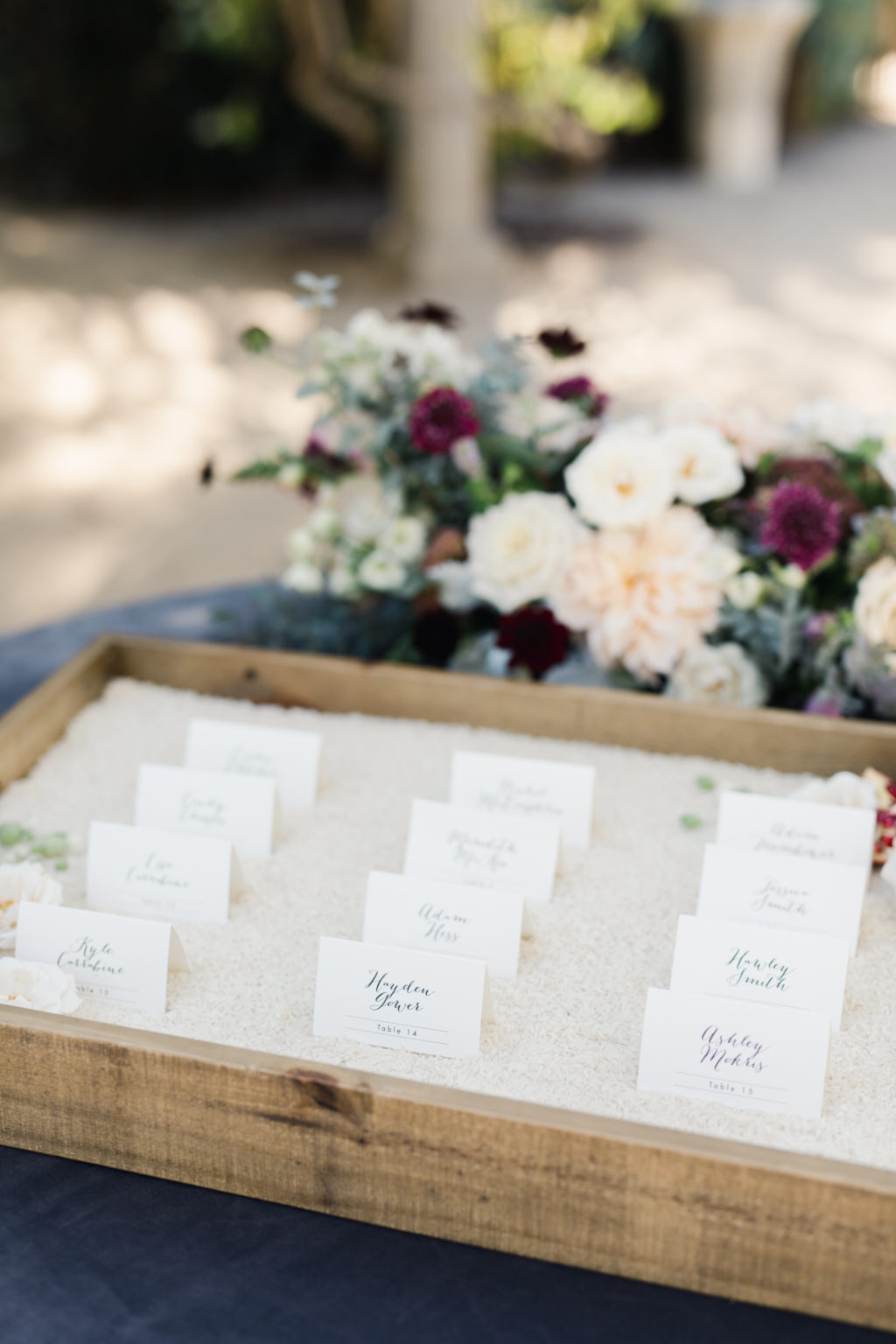 Wooden trays for escort cards